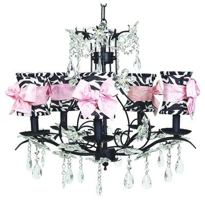 (Jubilee Collection 7107-2810-505 5 Arm Cinderella Black Chandelier with Hourglass Zebra Shade and Sash)