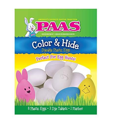 PAAS Easter Color & Hide Dyeable Plastic Eggs Kit - 8 Plastic Eggs & 3 Dye -