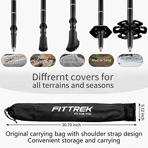 Snow Baskets FitTrek Trekking Poles Rubber Tips Walking Foot Tip Protectors Mud Baskets Accessories and Replacements for Hiking Poles Walking Sticks