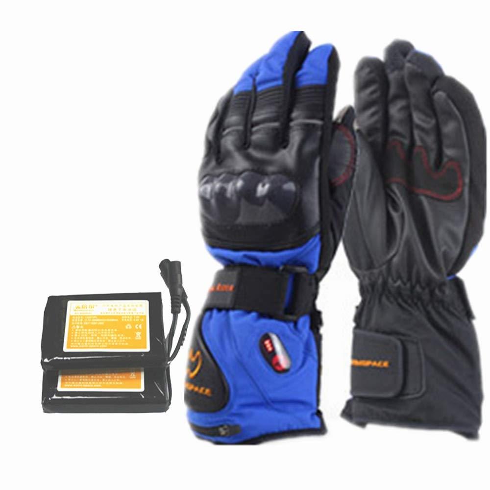 Handwärmer Touchscreen beheizte Handschuhe mit Lithium-Ionen-Akku für Männer und Frauen erhitzt, warme Handschuhe für Radfahren Motorrad Wandern Skifahren Bergsteigen (Farbe : Blau, Größe : M)