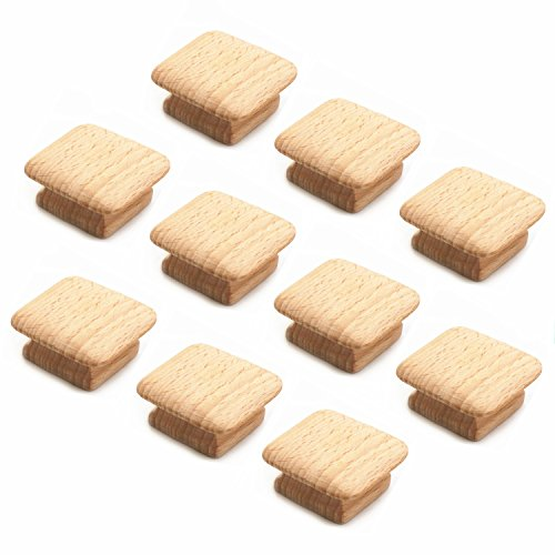 WEICHUAN 10PCS Square Unfinished Wood Drawer Knobs Pulls Handles - Cabinet Furniture Drawer Knobs Pulls Handles (Length And Width: 1-3/4 Inches Height: 3/4 Inch) Cabinet Wood Pulls