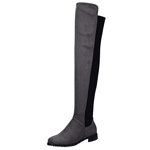 3cm Flache Stretch Damen Aiyoumei Overknee Stiefel Mit hQrdts