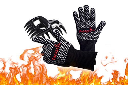 932°F Extreme Heat Resistant Oven Gloves – 1 Pair of Heat Resistant Silicone Oven Gloves and 1 Pair of Meat Bear Claws – Use for BBQ, Grilling, Frying & Baking