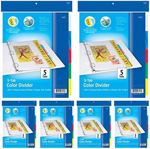 Kicko リングバインダー ディバイダー付き 6個パック クリアファイルバインダー 挿入可能なカラータブ5枚付き 学校やオフィス用品 書類やレターオーガナイザー アートやクラフトに最適