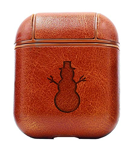 - Snowman Silhouette (Vintage Brown) Air Pods Protective Leather Case Cover - a New Class of Luxury to Your AirPods - Premium PU Leather and Handmade exquisitely by Master Craftsmen