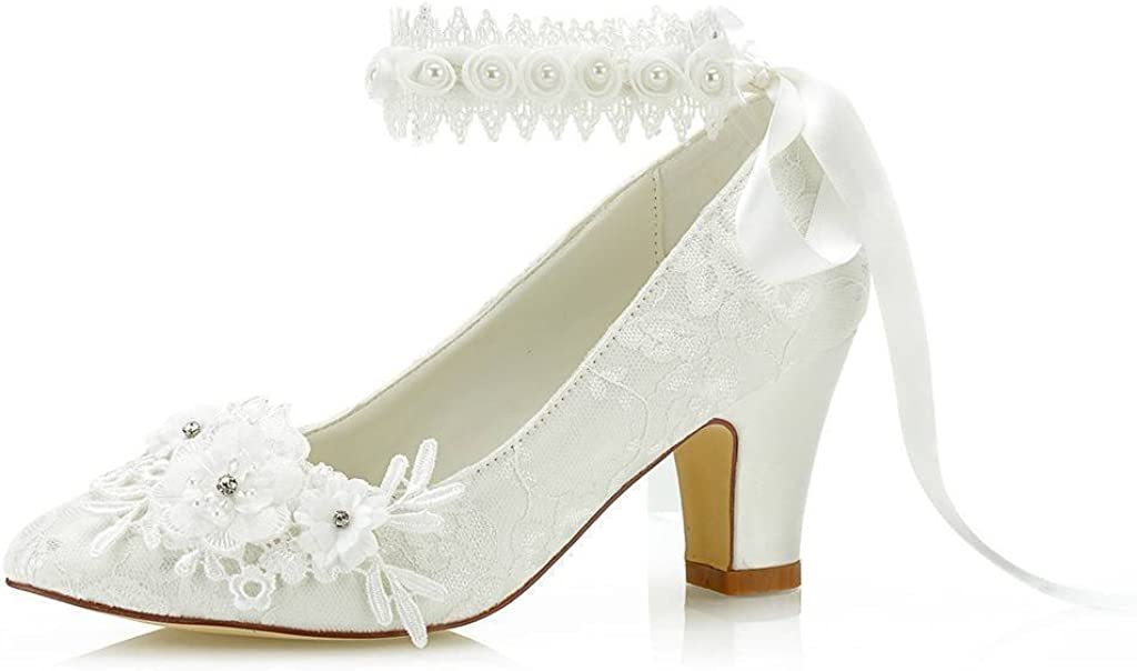 Women's Bridal Shoes Closed Toe Chunky Heel Lace Satin Pumps