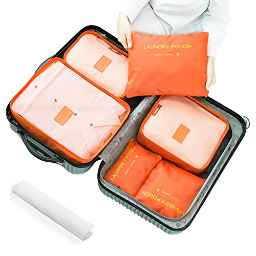 Travel Luggage Organizer, Travel Storage Bag for Suitcase, Packing Organizer, Travel Packing Pouches Packing Cubes, Clothes Sorting Package -7 Set (Orange) from VerNex