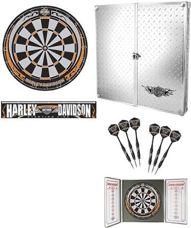 Harley Davidson Diamond Plate Bristle Dart Board With Cabinet