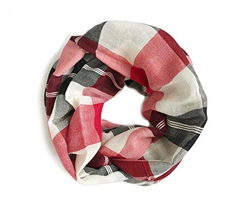 Ann Taylor LOFT Women's - Plaid Wool Blend Infinity Scarf (Red, Black, & White) - Ann Taylor Light
