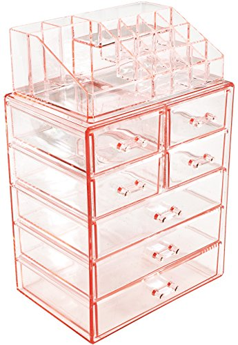Sorbus Cosmetic Makeup and Jewelry Storage Case Display - Spacious Design - Great for Bathroom, Dresser, Vanity and Countertop (3 Large, 4 Small Drawers, Pink)