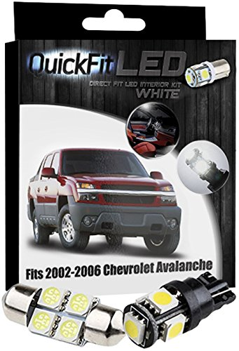 QuickFitLED White LED Interior Light Package Kit For Chevy Avalanche (2006 Chevy Avalanche Led)
