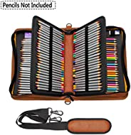 NIUTOP 160 Slots Pencil Case PU Leather Large Capacity Zipper Pen Bag with Adjustable Strap for Colored Pencil