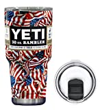 YETI Coolers 30 Ounce (30oz) (30 oz) Custom Powder Coated or Hydro Dipped Rambler Tumbler Cup Travel Mug Bundle with New Magslider Lid (Dipped Patriotic Flag)