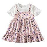 Summer Girls Fake Two Pieces Mini Dress Toddler Baby Kids Fly Sleeve Ruched Floral Flowers Print Party Princess Dress (Pink, M)