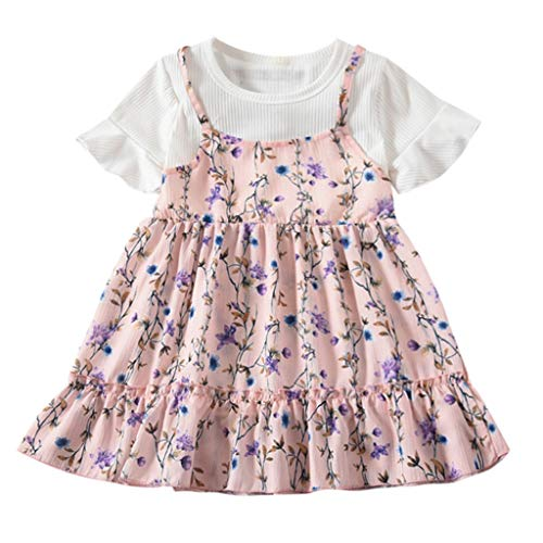 NIKAIRALEY Baby Toddler Little Girls Ruched Floral Print Fly Sve Skirt Dresses & Long Sve, One-Piece Beach Dress 12M-5T Pink ()