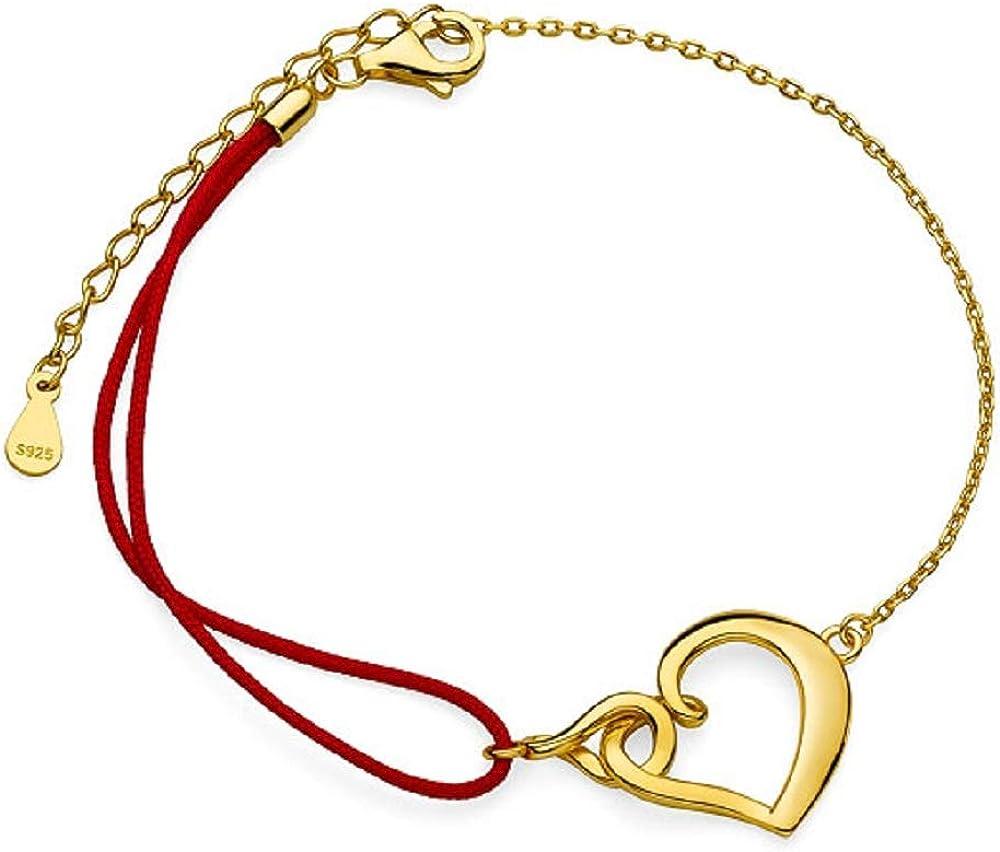 Beforya Paris - Pulsera ajustable de plata de ley 925 chapada en oro con corazón con cordón rojo, ideal como regalo de San Valentín con caja de regalo PIN/75