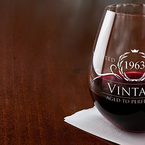 1963 55th Birthday Gifts For Women And Men Wine Glass