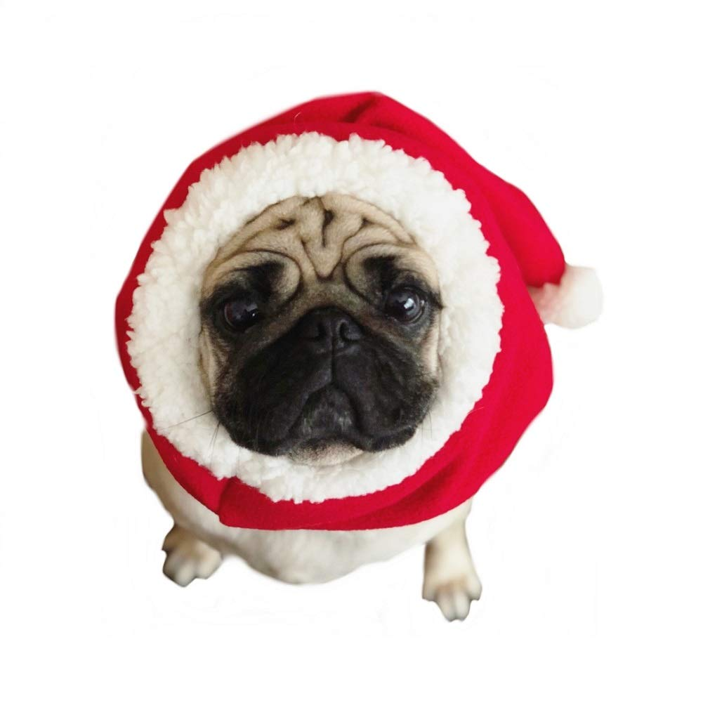 Large Stock Show Pet Christmas Hat Costume Dog Elastic Cute Warm Red Santa Hat with White Pompom Decor for Dog Cat Christmas Costume Headdress Xmas Festival Party Dressup Costume Accessory Gift Photo Props