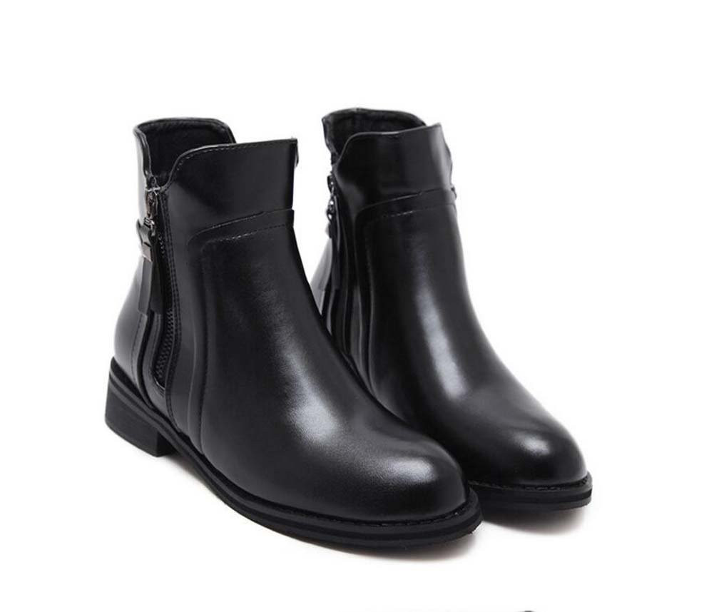 3.5CM Chunkly Tacón Chelsea Boots Knight Boot Mujer Hermoso Ronda Toe Zipper Bootie Punk Zapatos Martin Boot 2017 Otoño Invierno Nuevo Eu Tamaño 34-40 Onfly
