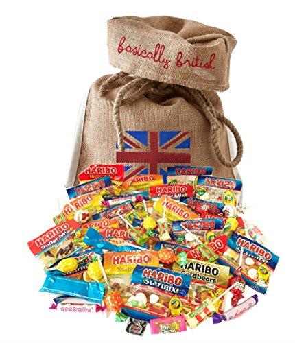 Haribo Gift Variety Pack by The Yummy Palette | Haribo Tangfastics Haribo Starmix Haribo Gold Bears Haribo Super Mix in Basically British Burlap Bag (British Candy Basket)