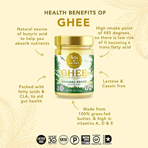 Original Grass-Fed Ghee by 4th & Heart, 16 Ounce, Keto, Pasture Raised, Non-GMO, Lactose Free, Certified Paleo 4