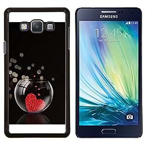 KLONGSHOP // Cubierta de piel con cierre a presión Shell trasero duro de goma Protección Caso - El amor del Corazón Acuario - Samsung Galaxy A7 A7000 //