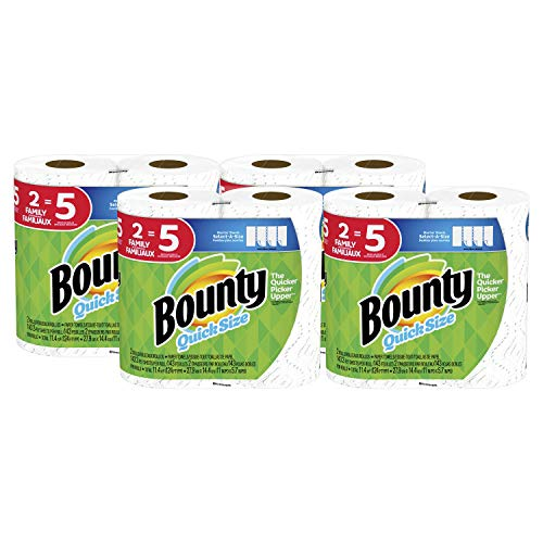 Bounty Quick-Size Paper Towels, White, 8 Family Rolls = 20 Regular Rolls (Towel Kitchen Rolls)