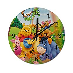 MEIMEI 12 inch Wooden Indoor Silent Decorative Battery Operated Lager Wall Clock for Living Room Home Office School Rustic Clock Round Wall Clock-Winnie The Pooh Friends