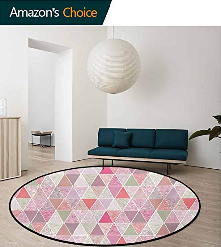 RUGSMAT Peach Small Round Rug Carpet,Colorful Geometric Design Triangles with Polka Dots Octagon Shape Pattern Triangular Door Mat Indoors Bathroom Mats Non Slip,Diameter-51 Inch Multicolor ()