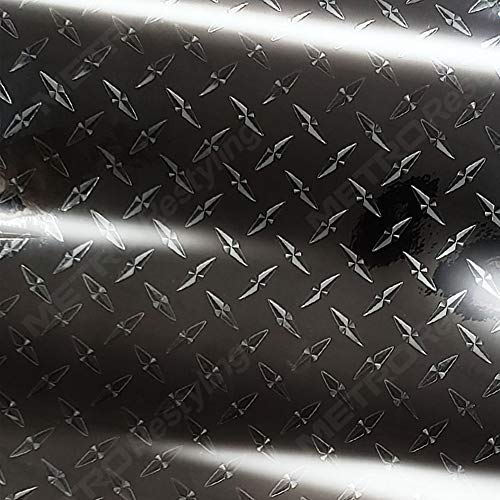 Metro Black 3D Diamond Plate Graphic, Craft, Sign Vinyl Decal Adhesive-Backed Sticker Film 24