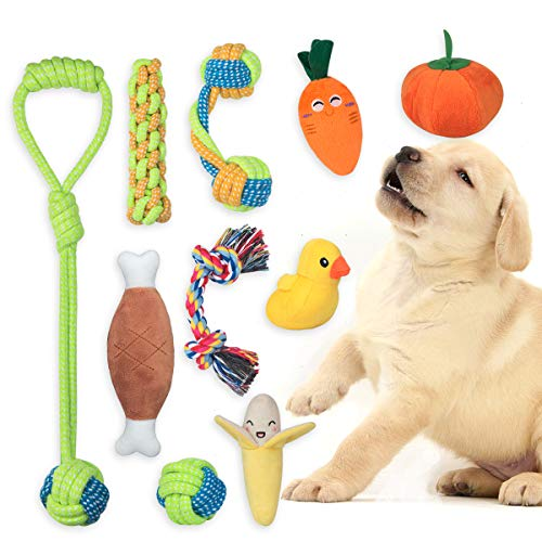 FONPOO Dog Rope Toy Puppy Squeaky Toys for Small to Medium Dogs, Interactive Dog Toy Dog Chew Toys for Teething Puppy…