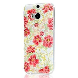 BestCool Carcasa Case Rígida para HTC ONE M8 Funda Dura de Transparente PC de Protectora del Caso de la Cubierta del Case-Estilo Patrón las Flores Rosal Diseño