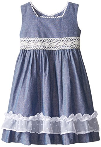 Bonnie Jean Little Girls' Chambray Bow Back Dress, Blue, 4T (Chambray Dress For Girls)