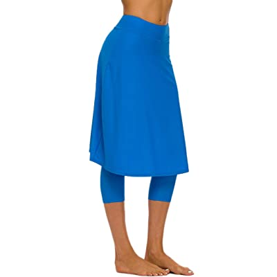 Micosuza Long Swim Skirt with Attached Leggings Modest Sun Protection Sports Skirt for Women at Women's Clothing store