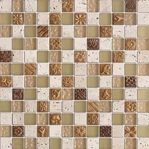 Fusion desierto beige stone vidrio mosaico de ladrillo Mosaico para bano precios