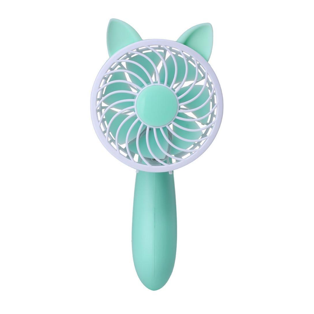 Makaor Protable Fold Fan,Cute Cat Hand Held Fan,USB Mini Electric Fan,Table Desk Fan 3-Speed Wind Adjustable For Home Outdoor (Green, Size:20cmx 9cm)
