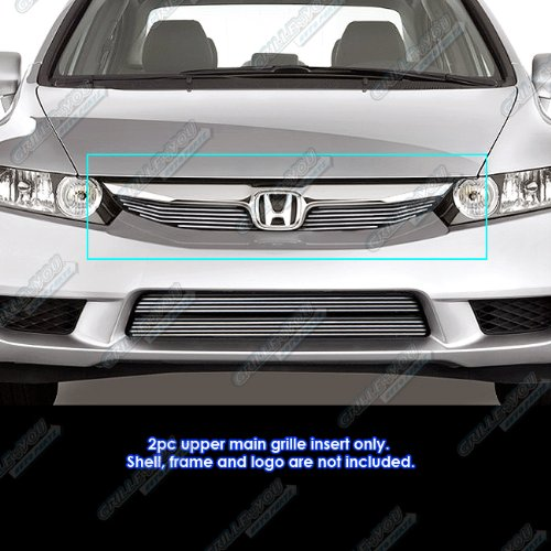 Civic Honda Billet Grilles - APS H66767A Polished Aluminum Billet Grille Bolt Over for select Honda Civic Models