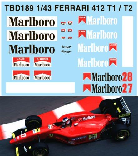 T2 G.Berger J.ALESI Decals TB Decal TBD189 1//43 Ferrari 412 T1