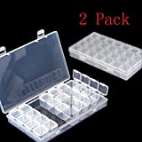 big clear gems - 2 Packs 28 Grids Diamond Embroidery Box Diamond Painting Nail Accessory Storage Box For DIY Art Craft