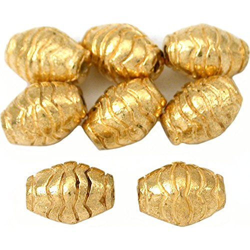 15g Bali Barrel Beads Gold Plt Oval Tube 10mm Approx (Bali Style Barrel)