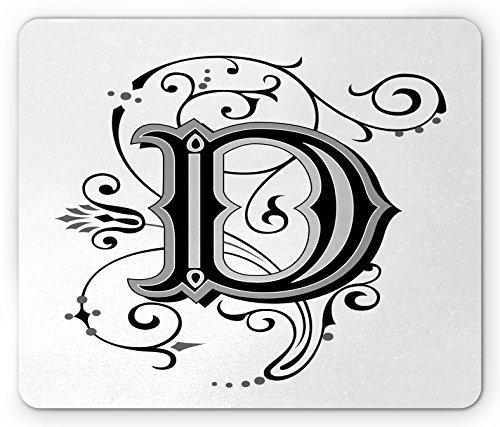 Letter D Mouse Pad by Ambesonne, Initial Letter from Medieval Scrolls Capital D Symbol Medieval Design Print, Standard Size Rectangle Non-Slip Rubber Mousepad, Black Grey White Symbol Scroll