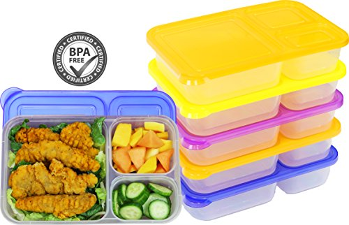 - 6 Pack - SimpleHouseware 3-Compartment Heavy Duty Bento Lunch Container Boxes, 36 ounces, 4 Color
