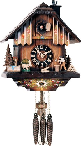 River City Clocks One Day Musical Cuckoo Clock with Woodchopper Chopping Wood and Animated Chimney Sweeper - 11 Inches Tall - Model # M404-11P