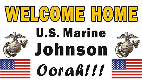 Alice Graphics 3ftX5ft Custom Personalized Welcome Home U.S. (US) Marine Corps Banner Sign Review