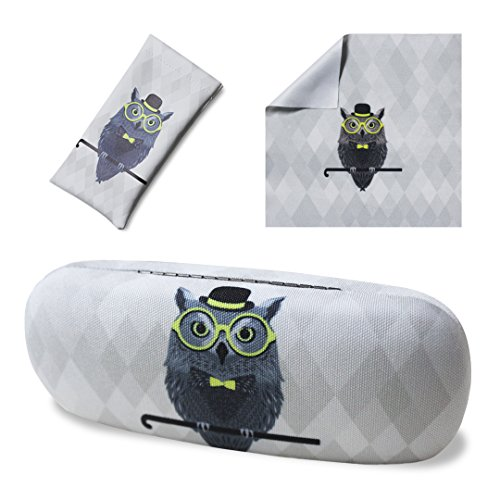 Yulan Hard Shell Glasses Case, Animal Fabric Print Case for Eyeglasses and Sunglasses(Includes Glasses - Glasses With Owl