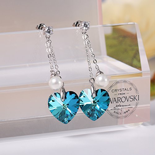❤Gift Packing❤ Crystal from Swarovski, Heart Earrings Tassels Pearls Eardrop Dangle Style Earrings, Birthday Birthstone Gifts for Women, Graduation Gifts by PLATO H (Image #5)