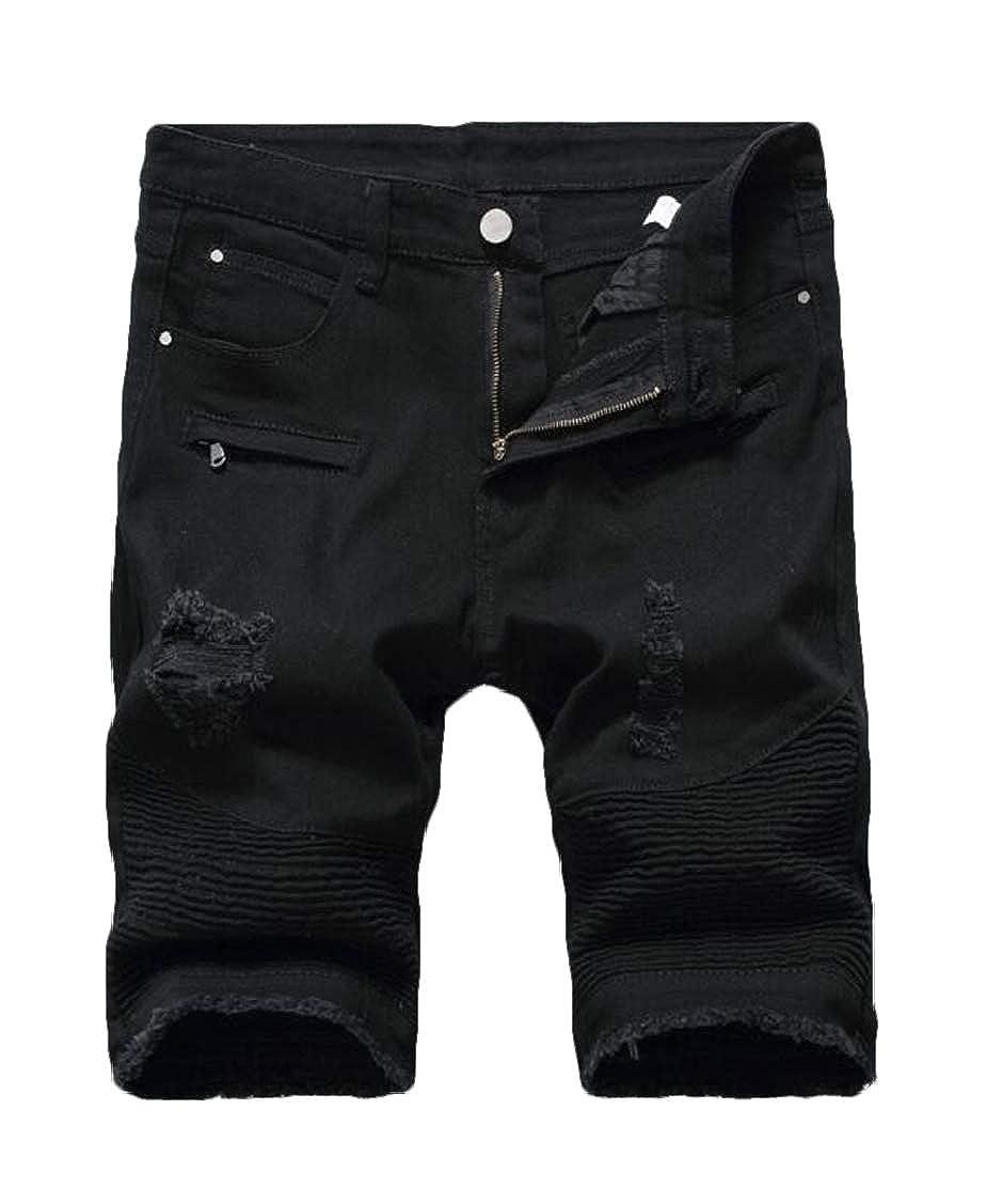 Rrive Mens Destructed Denim Stretchy Zip-Front Ruched Biker Shorts