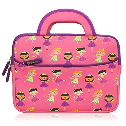 8.9 - 10.1 inch Kid Tablet Sleeve, Evecase Cute Fairy Tale Princess Themed Neoprene Carrying Sleeve Case Bag For 8.9 - 10.1 inch Kid Tablets (Pink & Purple Trim, With Dual Handle and Accessory Pocket)