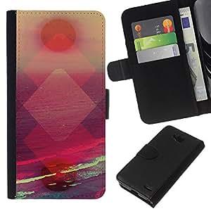 KLONGSHOP // Tirón de la caja Cartera de cuero con ranuras para tarjetas - atardecer polígono abstracta vibrante sol - LG OPTIMUS L90 //
