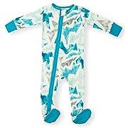Earthy Organic Baby Sleeper 2-Way Zipper Pajamas Boy Girl (9 Sizes: Preemie-3T) 100% Organic Cotton (Newborn- Footed, Geo Blue)